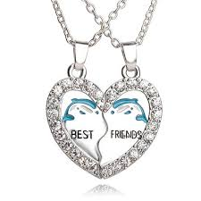 friend heart necklace images 2pcs dolphins friendship heart necklace pinpointweave jpg
