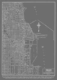 City Map Of Chicago by 1944 Chicago Street Map Vintage Gray Print Poster