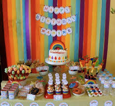 Rainbow Party Decorations Rainbow Birthday Party Decore Stunning Party Table With All