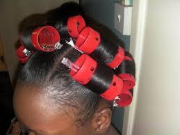 roller set relaxed hair my ponytail rollerset saran wrap method