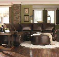 livingroom furnature chocolate brown leather sectional w round ottoman home decor