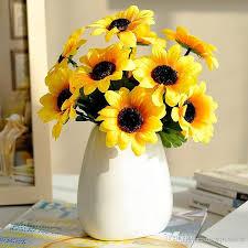 sunflowers decorations home 2018 sweet artificial flower 1 bunch 7 heads silk flower sunflowers