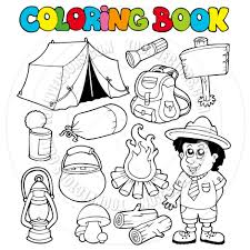 cartoon coloring book with camping images by clairev toon