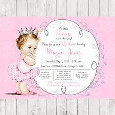 ballerina baby shower invitation for princess crown pink