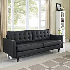 modern tufted leather sofa amazon com mid modern loft tufted leather sofa in black kitchen