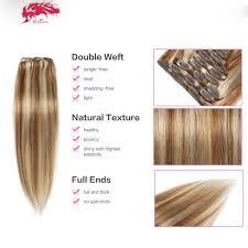 clip extensions color 8 mix 613 clip in human hair extensions 10pcs per set