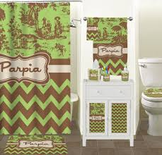 Green And Brown Shower Curtains Green Brown Toile Chevron Shower Curtain Personalized