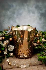glass votive cup in rose gold 3 7in