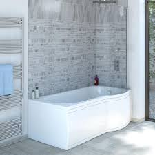 trojancast reinforced p shape right hand shower bath 1675 x 850 concert reinforced p shape shower bath 1675 x 850 with panel screen right hand