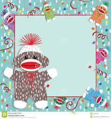 baby sock monkey shower invitation royalty free stock images