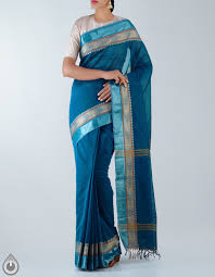 Cot Online Shopping Bangalore Casual Blue Pure Kanchi Cotton Saree For Online Shopping Unm20810