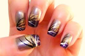 summer glam nail art with gold and purple tutorial youtube