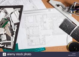 building blueprints on an architect table stock photo royalty