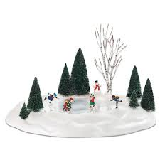 amazon com department 56 801130 animated skating pond 17 5 x 14