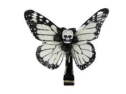 scary white black small kahlovera skull butterfly feather