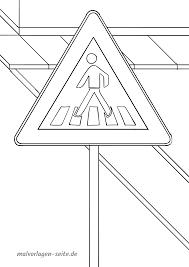 Panneau de signalisation passage pour piétons Coloriage  Coloriage