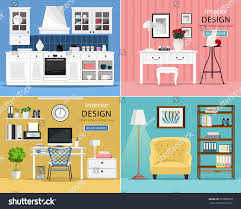 home interior design types set cute colorful graphic interior design stock vector 533885509