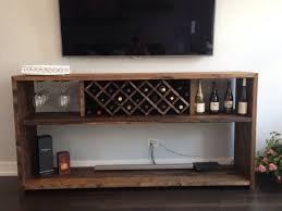 hand crafted wine bar with bottle rack and glass rack reclaimed