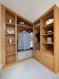 small loft walk in wardrobe light oak bespoke furniture fitted