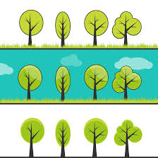 100 cute trees cute cartoon pattern with tiny houses and