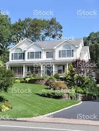 large suburban home front yard landscape stock photo 160046151