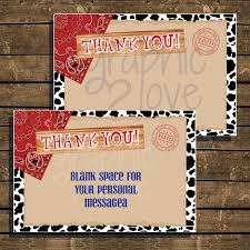 cowboy western thank you cards 4x6 instant