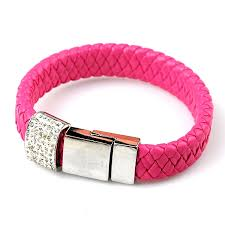 pink leather bracelet images Hot pink leather braided bangle rhinestone embellished bracelet jpg