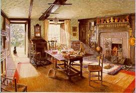 houses tea time fireplace paint painting interior architecture