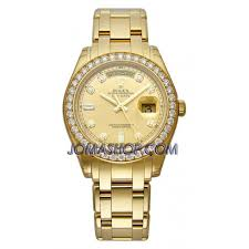 rolex bracelet diamonds images Rolex day date champage diamond dial 18k yellow gold oyster jpg
