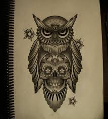 owl mexican skull by frah tattoos pinterest mexican skulls