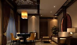 chinese style interior design idea for lounge night rendering