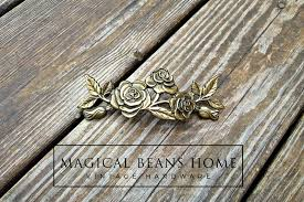 vintage kbc romantic roses shabby chic drawer handles in antiqued