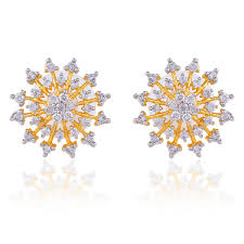 ear studs designs floral design gold plated american diamond cz studded ear studs