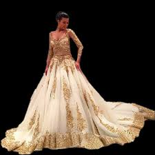 golden wedding dresses luxury sleeve white gold wedding dresses with 2017