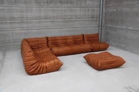Cognac Leather Sofa by Vintage Ligne Roset Togo Set Reupholstered In Vintage Cognac