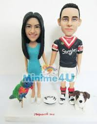 rugby couple mini me dolls custom wedding cake toppers
