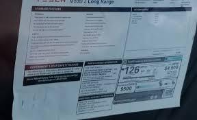 tesla u0027s long range model 3 appears to boast a 126 mpge efficiency