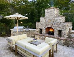 patio with bbq grill and stone fireplace durable outdoor stone