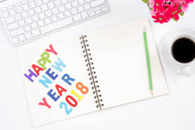 new year supplies top view of modern workplace with office supplies happy new year