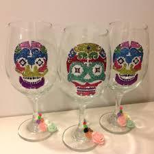 Shop Sugar Skull Wine Glasses on Wanelo