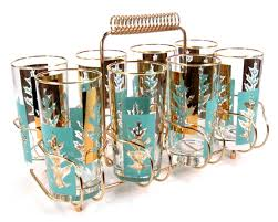 mid century cocktail glasses turquoise and gold leaf design set