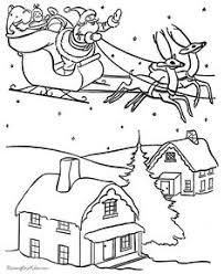 draw santa clause reindeers flying sleigh