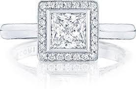 princess cut engagement rings with halo tacori bezel set princess cut pave halo engagement ring 304 25pr55