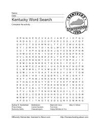 kentucky word search 4th 5th grade worksheet lesson planet