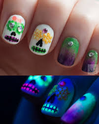 polish hound uv glow halloween sugar skulls u0026 gradient nail art