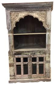 consigned antique indian library bookcase arched frame with rack