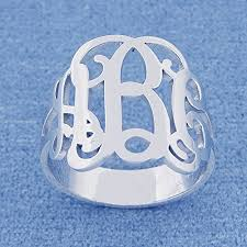 monogram rings sterling silver 3 initial monogram ring sterling silver personalized