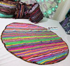 Buy Round Rug by Buy Round Hand Loomed Chindi Rag Rug Vintage Dhurrie Bohemian Rug