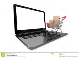 Laptop Desk Cart by Online Shopping Concept Shopping Cart With Boxes Over Laptop