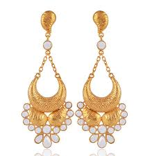 jhumka online buy silver fashioned out golden chandelier earring